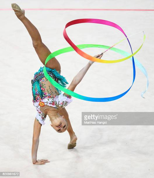 Arina Averina of Russia competes during the Rhythmic Gymnastics Women's Individual Ribbon Qualification of The World Games at Centennial Hall on July...