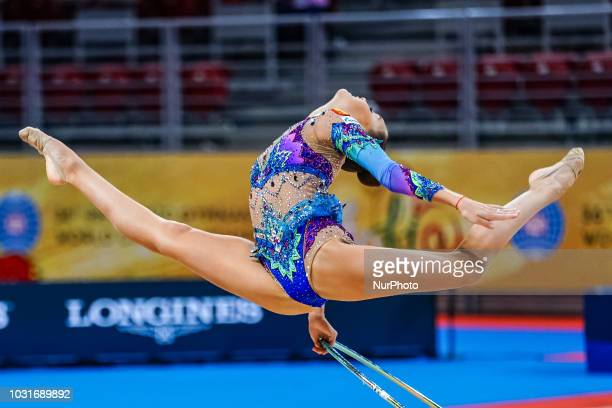 Arina Averina of  Russia during Rhythmic Gymnastics World Championships at the Arena Armeec in Sofia at the 36th FIG Rhythmic Gymnastics World...