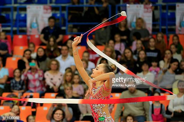 Arina Averina of Russia performs during the International Rhythmic Gymnastics Championship at the Alina Cup Grand Prix 2016 event in Moscow Russia on...