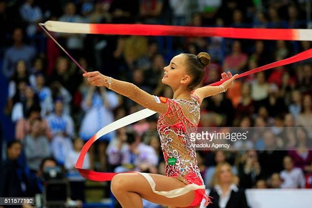 Arina Averina of Russia performs the ribbon exercise in the final ofthe International Rhythmic Gymnastics Championship at the Alina Cup Grand Prix...