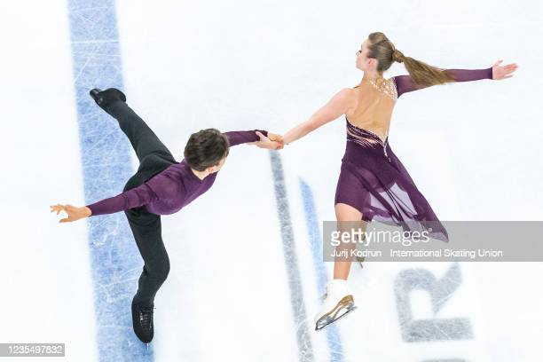 Arina Klimova and Filip Bojanowski of Poland perform during the ISU Junior Grand Prix of Figure Skating at Tivoli Hall on September 25, 2021 in...