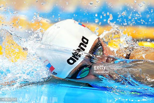 Arina Openysheva of Russia competes during the Women's 100m Freestyle final on day twelve of the Baku 2015 European Games at the Baku Aquatics Centre...