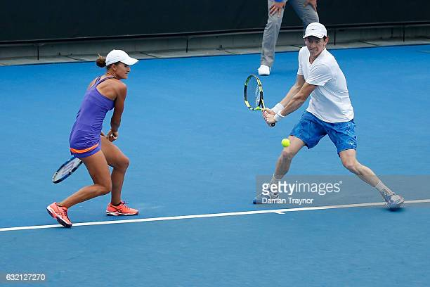 Arina Rodionova and JohnPatrick Smith of Australia compete in their second round match against Bethanie MattekSands and Mike Bryan of the United...