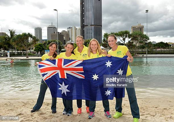 Arina Rodionova Casey Dellacqua Alicia Molik Daria Gavlirova and Samantha Stosur pose for a photo during the official draw for the Fed Cup tie...