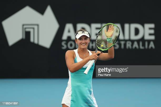 Arina Rodionova of Australia celebrates winning her singles match against Sloane Stephens of the USA during day three of the 2020 Adelaide...