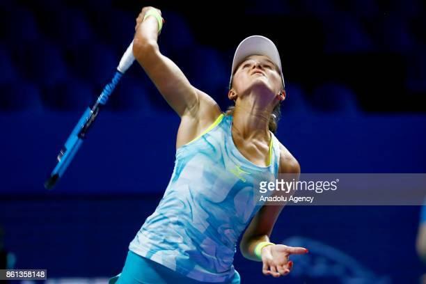 Arina Rodionova of Australia in action against Anastasia Potapova of Russia during the women's singles tennis qualifying match within the...
