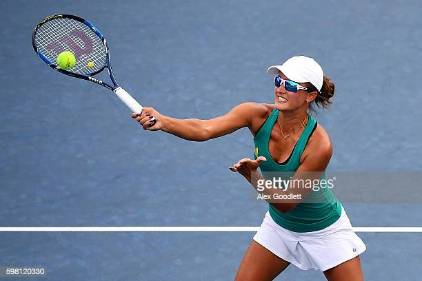 Arina Rodionova of Australia in action against Barbora Krejcikova and Katerina Siniakova of the Czech Republic during her first round Women's Doubles...
