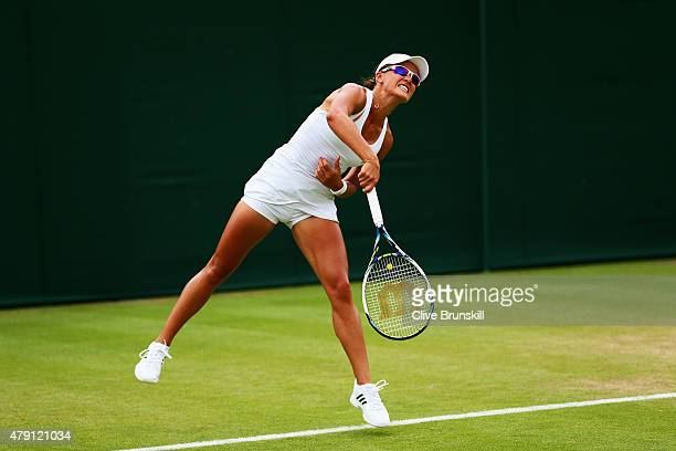 Arina Rodionova of Australia in action in her Ladies Doubles First Round match with Anastasia Rodionova of Australia against Irina Falconi of the...