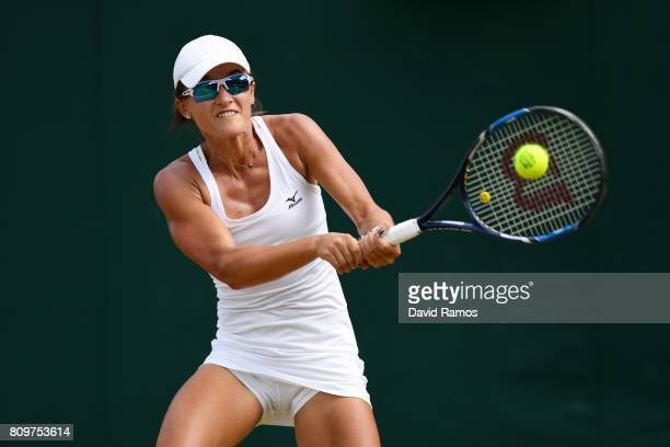 Arina Rodionova of Australia plays a backhand during the Ladies Singles second round match against Zarina Diyas of Kazakhstan on day four of the...