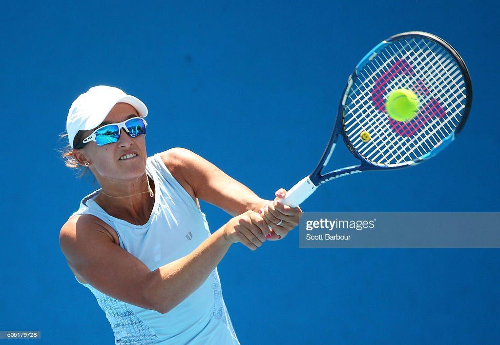 Arina Rodionova of Australia plays a backhand in her match against Viktorija Golubic of Switzerland during the third round of 2016 Australian Open Qualifying at Melbourne Park on January 16, 2016 in Melbourne, Australia.