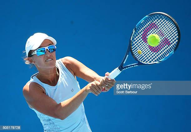 Arina Rodionova of Australia plays a backhand in her match against Viktorija Golubic of Switzerland during the third round of 2016 Australian Open...