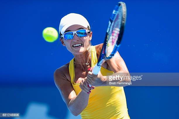 Arina Rodionova of Australia plays a backhand shot in her first round match against Johanna Konta of Great Britain during day two of the 2017 Sydney...