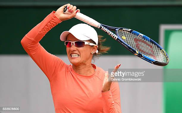 Arina Rodionova of Australia plays a forehand during the Women's Singles first round match against Ana Konjuh of Croatia on day three of the 2016...
