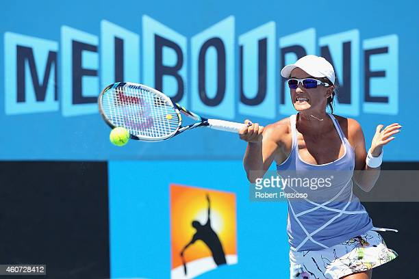 Arina Rodionova of Australia plays a forehand in the final match against Daria Gavrilova of Australia during the 2015 Australian Open play off at...