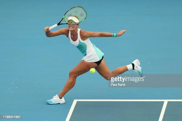 Arina Rodionova of Australia plays a forehand to Sloane Stephens of the USA during day three of the 2020 Adelaide International at Memorial Drive on...