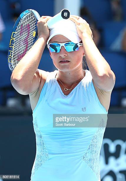 Arina Rodionova of Australia reacts after hitting the ball out in her match against Viktorija Golubic of Switzerland during the third round of 2016...