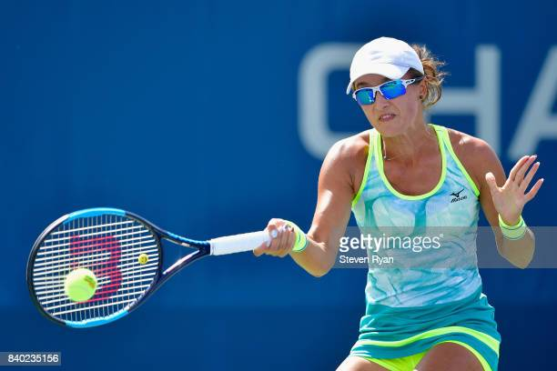 Arina Rodionova of Australia returns a shot to Richel Hogenkamp of the Netherlands on Day One of the 2017 US Open at the USTA Billie Jean King...