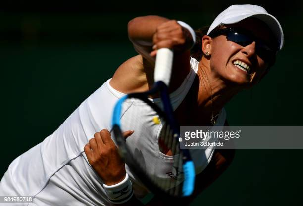 Arina Rodionova of Australia serves against Jaqueline Cristian of Romania during Wimbledon Championships Qualifying - Day 2 at The Bank of England...