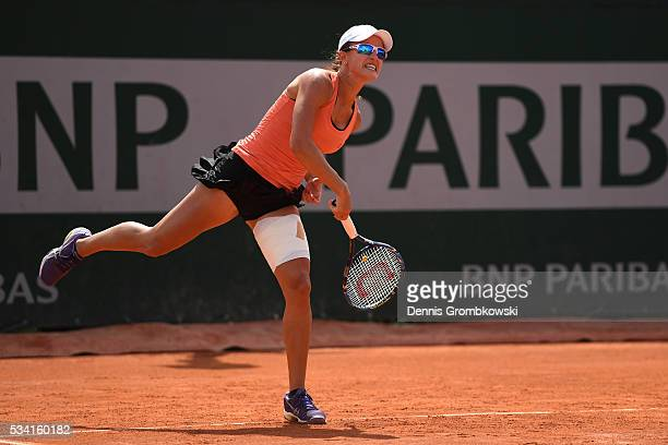 Arina Rodionova of Australia serves during the Womens Double first round match against Timea Babos of Hungary and Yaroslave Shvedova of Kazakhstan at...
