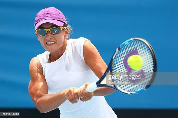 Arina Rodionova of Victoria plays a backhand during the Women's Australian Open 2016 Singles Playoff final between Arina Rodionova of Victoria and...