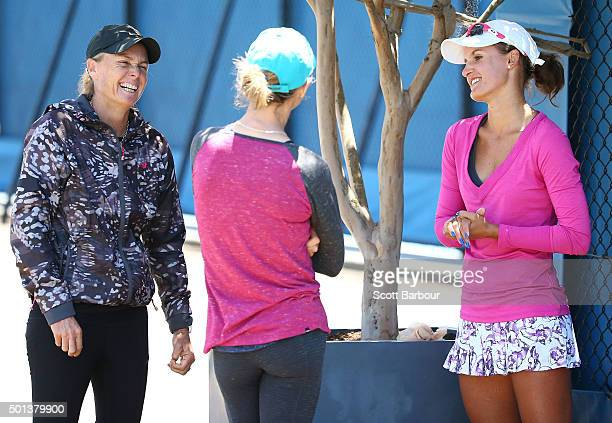 Arina Rodionova of Victoria speaks to her coaches Louise Pleming and Cara Black after winning her 2016 Australian Open Women's Singles Play Off match...