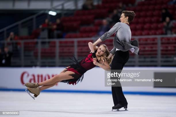 Arina Ushakova and Maxim Nekrasov of Russia compete in the Junior Ice Dance Free Dance during the World Junior Figure Skating Championships at Arena...