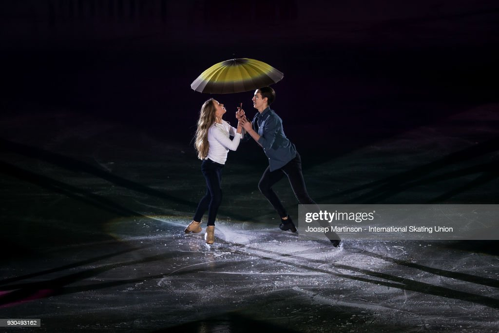 Arina Ushakova and Maxim Nekrasov of Russia perform in the Gala Exhibition during the World Junior Figure Skating Championships at Arena Armeec on March 11, 2018 in Sofia, Bulgaria.