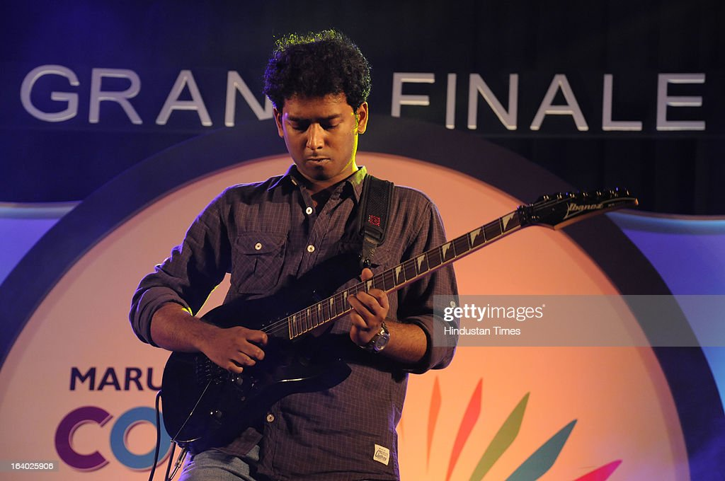 Arindam Biswas performed the Guitar own composition during the grand finale of 'Maruti Suzuki Colors of Youth' in Sector-44 Epicenter on March 18, 2013 in Gurgaon, India.