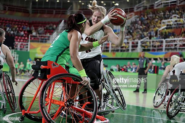 Arinn Young of Canada in action during Women's Wheelchair Basketball match between Brazil and Canada at Olympic Arena on day 5 of the Rio 2016...