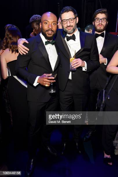 Arinze Kene and Georges Khabbaz attend The 64th Evening Standard Theatre Awards after party at the Theatre Royal Drury Lane on November 18 2018 in...