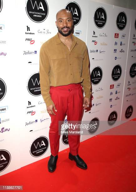 Arinze Kene attends the WhatsOnStage Awards at Prince Of Wales Theatre on March 03 2019 in London England