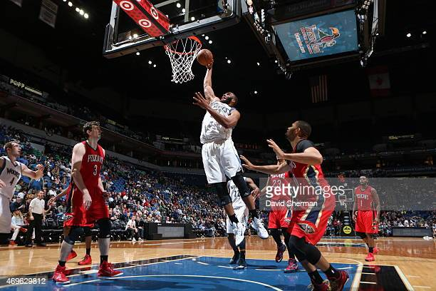 Arinze Onuaku of the Minnesota Timberwolves goes for the dunk against the New Orleans Pelicans during the game on April 13 2015 at Target Center in...