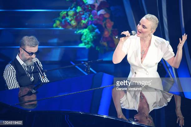 Arisa and Marco Masini attend the 70° Festival di Sanremo at Teatro Ariston on February 06 2020 in Sanremo Italy
