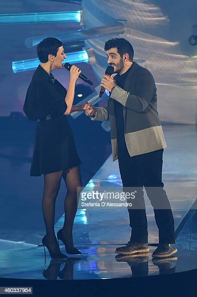 Arisa and Mario appear on X Factor Italia Tv Show on December 11 2014 in Milan Italy
