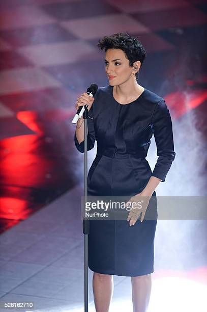 Arisa attend closing night of the 64rd Sanremo Song Festival at the Ariston Theatre on February 22 2014 in Sanremo Italy