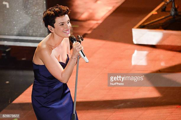 Arisa attend the fourth night of the 64rd Sanremo Song Festival at the Ariston Theatre on February 21 2014 in Sanremo Italy