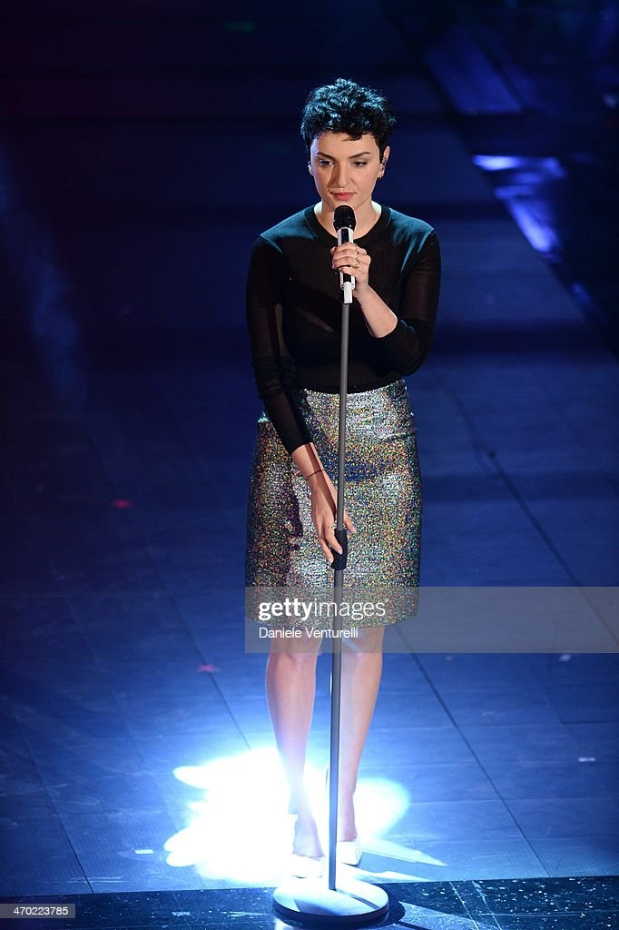 Arisa attends opening night of the 64th Festival di Sanremo 2014 at Teatro Ariston on February 18, 2014 in Sanremo, Italy.