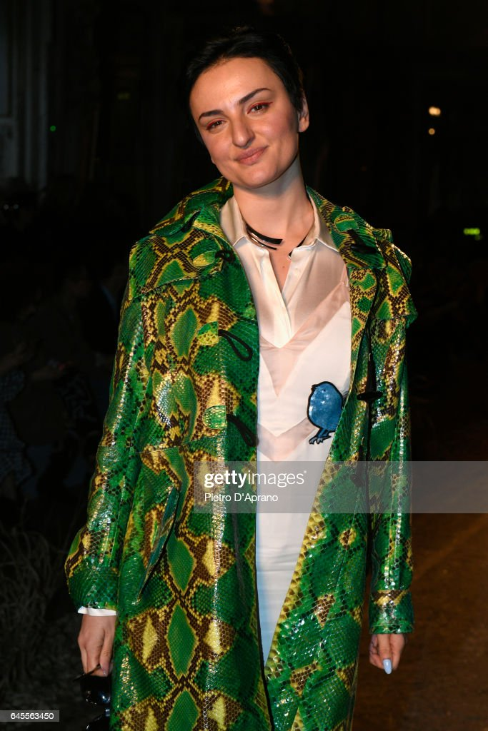 Arisa attends the Au Jour Le Jour show during Milan Fashion Week Fall/Winter 2017/18 on February 26, 2017 in Milan, Italy.