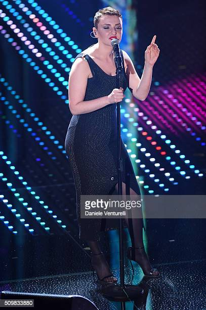 Arisa attends the fourth night of the 66th Festival di Sanremo 2016 at Teatro Ariston on February 12 2016 in Sanremo Italy