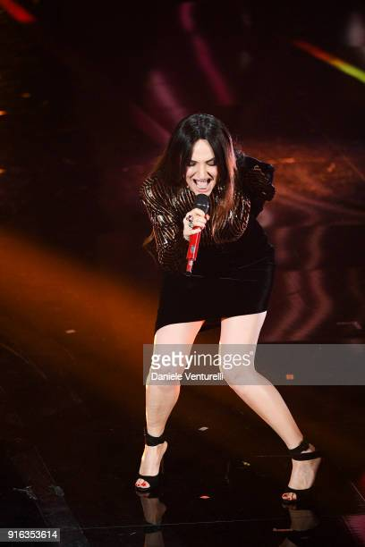 Arisa attends the fourth night of the 68 Sanremo Music Festival on February 9 2018 in Sanremo Italy