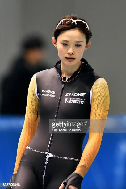 Arisa Go is seen during a practice session ahead of the Speed Skating PyeongChang Olympic qualifier at the M Wave on December 26 2017 in Nagano Japan