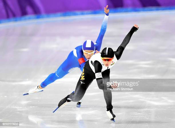 Arisa Go of Japan and Lee Sanghwa of South Korea compete in the Speed Skating Ladies' 500m on day nine of the PyeongChang 2018 Winter Olympic Games...