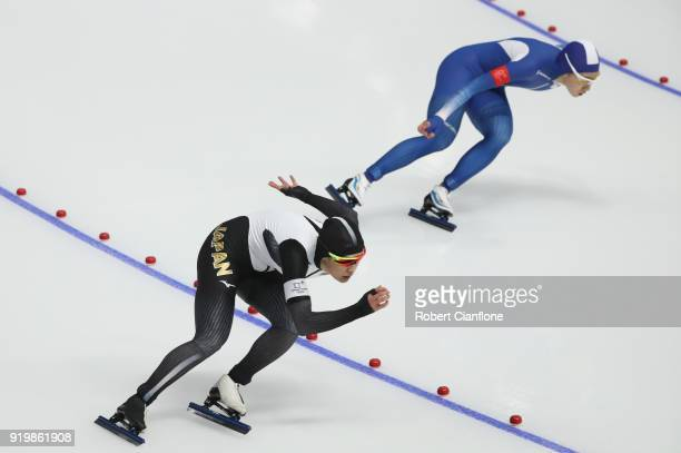 Arisa Go of Japan competes in the Ladies' 500m Individual Speed Skating Final on day nine of the PyeongChang 2018 Winter Olympic Games at Gangneung...
