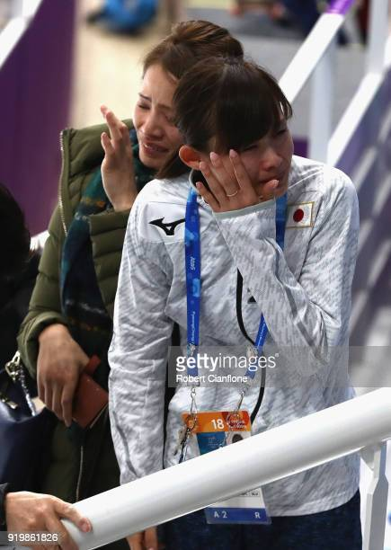 Arisa Go of Japan is seen in the grand stand with family and friends after the Individual Speed Skating Final on day nine of the PyeongChang 2018...