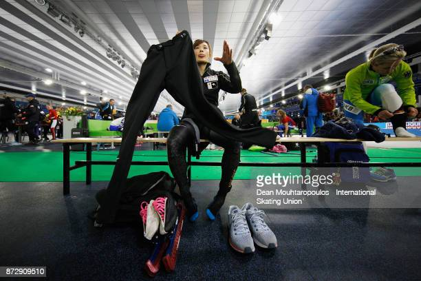 Arisa Go of Japan looks on after she competes in the Womens 500m race on day two during the ISU World Cup Speed Skating held at Thialf on November 11...