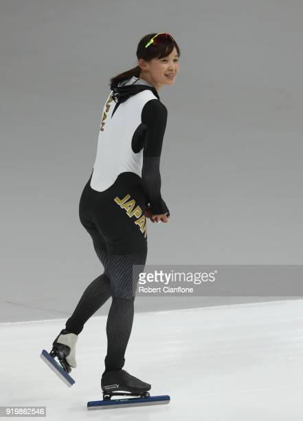Arisa Go of Japan reacts after competing in the Ladies' 500m Individual Speed Skating Final on day nine of the PyeongChang 2018 Winter Olympic Games...