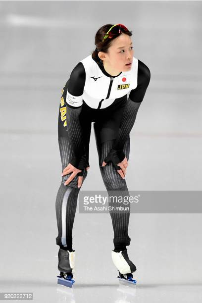 Arisa Go of Japan reacts after competing in the Speed Skating Ladies' 500m on day nine of the PyeongChang 2018 Winter Olympic Games at Gangneung Oval...