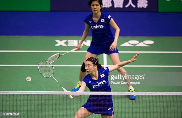 Arisa HIGASHINO and Ayane KURIHARA of Japan in action while playing against Szu Yu CHEN and KUO Yu Wen of Chinese Taipei during the 2016 Hong Kong...