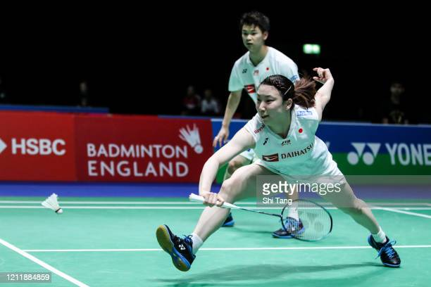 Arisa Higashino and Yuta Watanabe of Japan compete in the Mixed Doubles first round match against Ko Sung Hyun and Eom Hye Won of Korea on day one of...