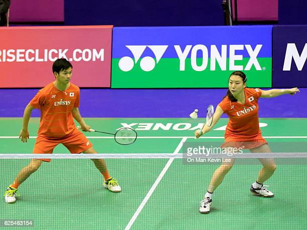 Arisa Higashino and Yuta Watanabe of Japan in action against Tontowi Ahmad and Liliyana Natsir of Indonesia during Mixed Double of Yonex-Sunrise Hong...